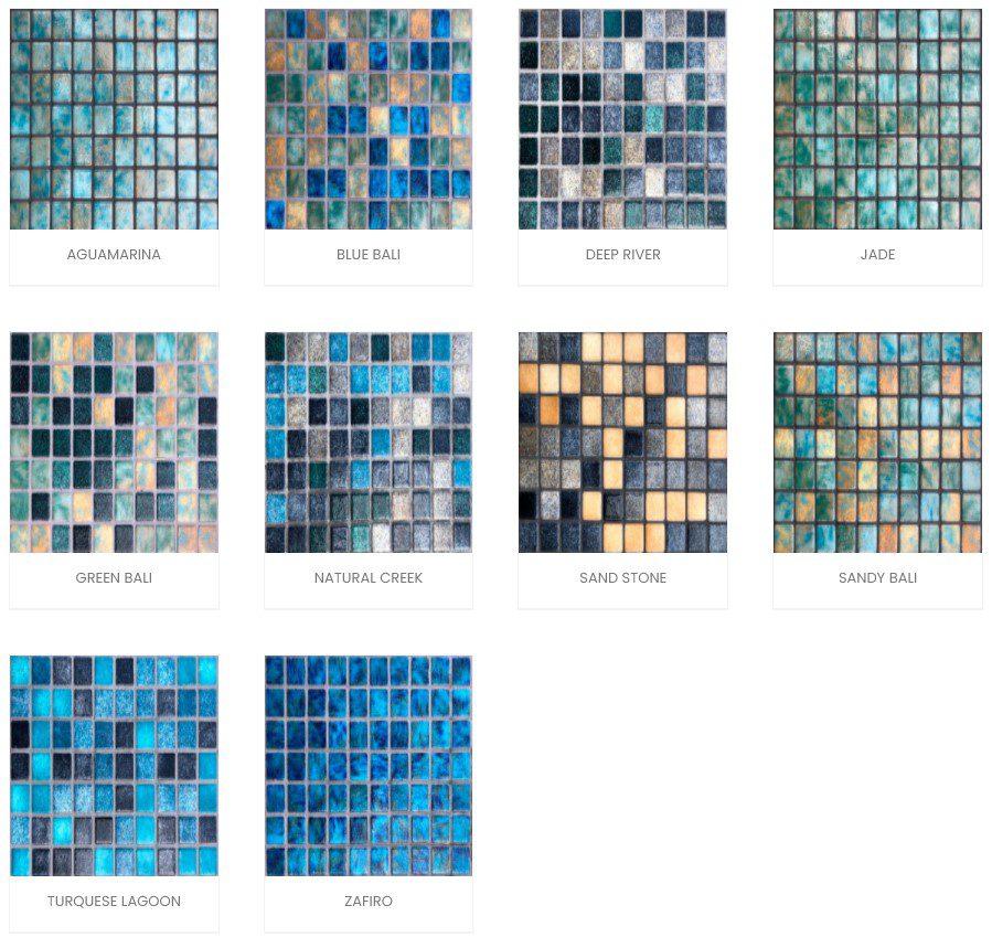 Trames de carrelage mosaïque piscine effet Pierre de Bali - Reviglass PARADISE STONES