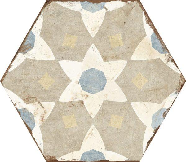 Carreau de ciment hexagonal - carrelage Nanda BOHEMIA SELENA - Blanc beige bleu