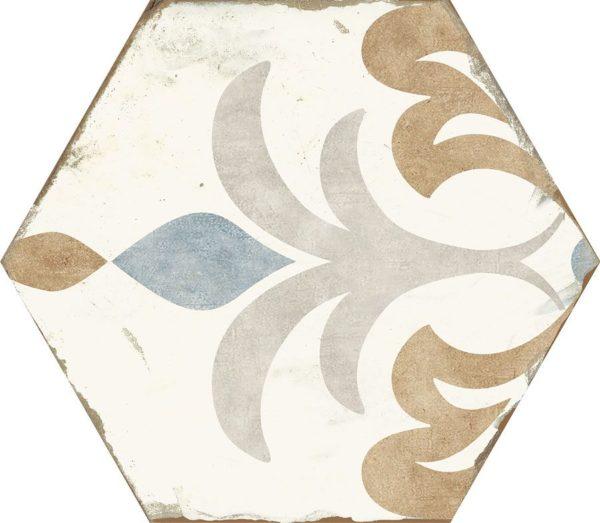 Carreau de ciment hexagonal - carrelage Nanda BOHEMIA LOLA - blanc bleu - gris-marron