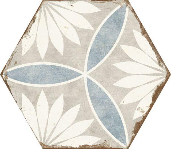 Carreau de ciment hexagonal - carrelage Nanda BOHEMIA MARGARITA - blanc bleu - gris