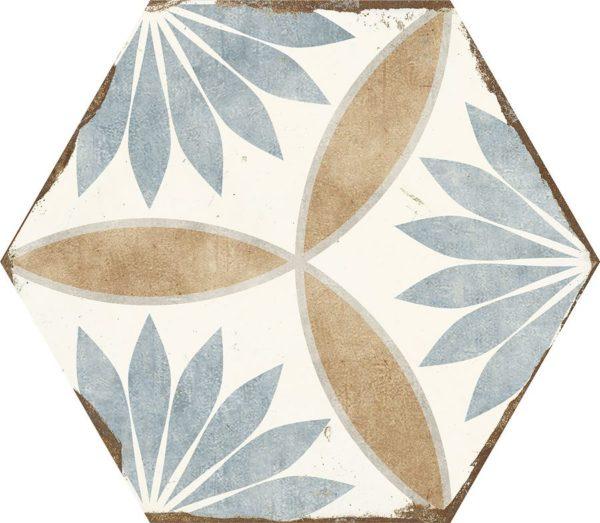 Carreau de ciment hexagonal - carrelage Nanda BOHEMIA MIRANDA - blanc bleu beige