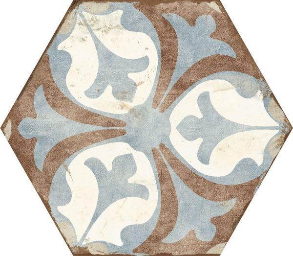 Carreau de ciment hexagonal - carrelage Nanda BOHEMIA VIANA - blanc bleu marron