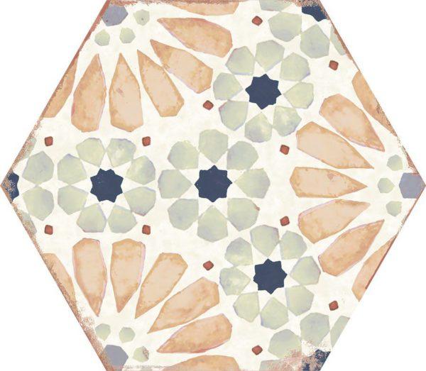 Carreau de ciment hexagonal - carrelage Nanda BOHEMIA HANNA - blanc gris beige noir