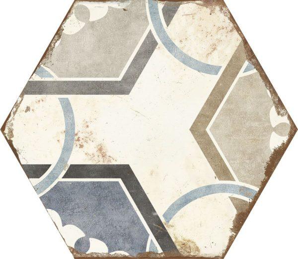 Carreau de ciment hexagonal - carrelage Nanda BOHEMIA DALIA - noir blanc bleu beige gris