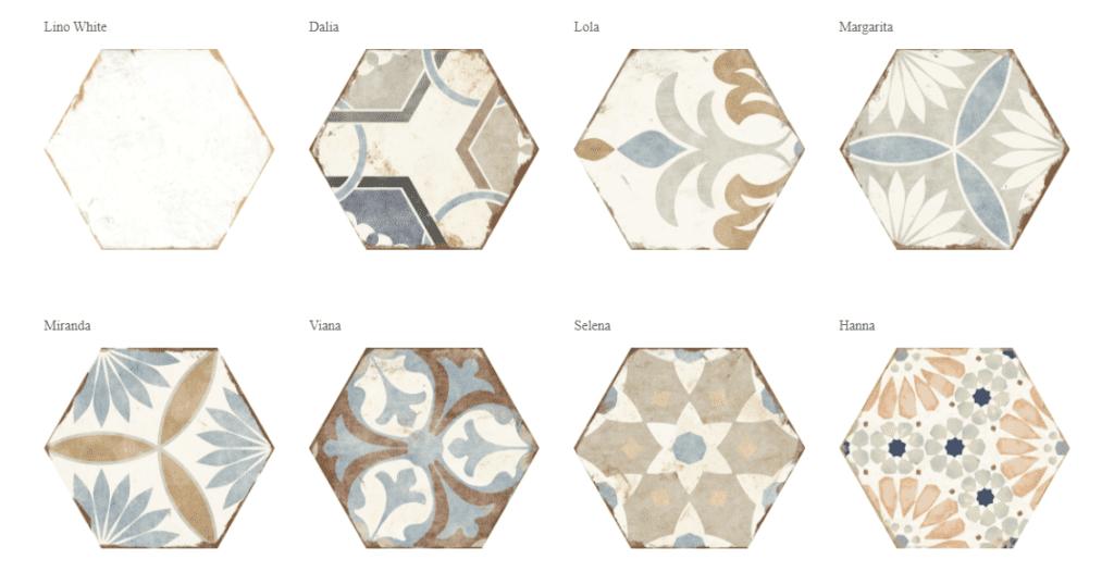 Carrelage hexagonal imitation carreau de ciment - 8 modèles Nanda Bohemia
